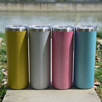 Wholesale! 20oz Skinny Straight Colorful Glitter Tumbler Blue White Pink Yellow Stainless Steel Water Bottles Double Wall Insulated Cups Drinking Milk Mugs A12