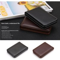 Card Holders Business Holder Fashion Multipurpose PU Leather Wallet Solid Pocket Case With Magnetic Shut Large Capacity Wear Resistant