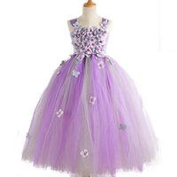 Girl's Dresses POSH DREAM Liac Lavender Flower Girls Wedding For Kids With Headwear Long Prom Party Girl Children Princess Clothes
