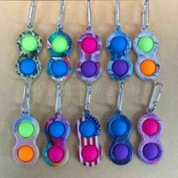 US stock Metal Clip Simple Dimple Key Ring Silicone Push Bubble Toy Keychain Pop it Fidget Sensory Toys UA Flags Camo Borde