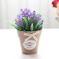Decorative Flowers & Wreaths Artificial Potted Plant Fake Flower 1Set Small Mini Bonsai Green With Vase Wedding Party Home Decoration