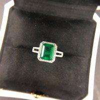 Pansysen di lusso di lusso di alta qualità anelli smeraldo per le donne anello cocktail di fidanzamento da sposa anello 100% 925 argento sterling gioielli regalo 763 Q2
