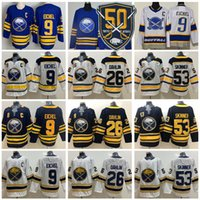 Reverse Retro Buffalo Sabers 9 Jack Eichel Jersey Ice Hockey 26 Rasmus Dahlin 53 Jeff Skinner Blank 50 주년 기념 패치 로얄 해군 블루 화이트 스티치 좋은 남자
