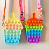Fashion Coin Purse Wallet Ladies Rainbow Strawberry Shoulder Strap Bag Fidget Toy Push Bubble Hamburger Crossbody Bags For Girls