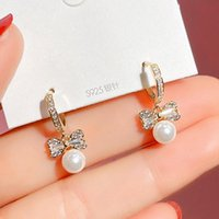 Hoop & Huggie Korean Fashion Bowknot Pearl Pendant Hook Earrings For Women Temperament High Quality Jewelry Zirconia Party Ins Gift