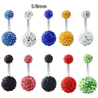 Stainless steel Crystal ball belly ring Sexy Navel Bell Button Rings Piercing Navel Piercing Jewelry women body jewelry