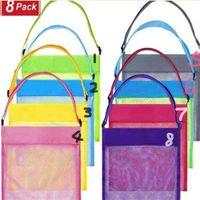 Playa Shell Juguete Almuerzo Bolsas de natación para viajes Bolsa de niños Niños Arena Sand Tool Almacenamiento Malla de Malla Color 8 Paquete Mochila G53F0M7