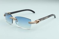 Texturizado novo homens e mulheres de luxo óculos de sol diamante óculos de chifre natural 2021 completo T3524012-28 preto mesmo quadro sem bordas anwsl