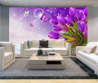 Wallpapers Custom Wall Mural Po Wallpaper Purple Tulip Modern Fashion Living Room Sofa Bedroom TV Background Non-woven Flower