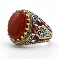 Turkey Jewelry Men Ring with Red Natural Agate Stone 925 Sterling Silver Vintage King Crown CZ Enamel Rings for Women Male Gift 211014