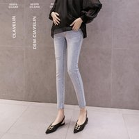 Maternity Bottoms 943# Pants Spring Autumn Jeans Belly Support Elastic Waist Hole Decoration Trousers