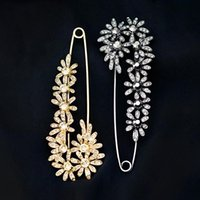 Pins, Brooches OBN Vintage Decorative Extra Large Safety Pins Black Crystal Daisy F Brooch Collar Sweater Suit Jewelry