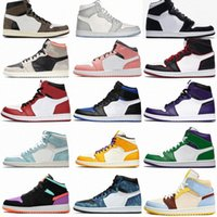 المصممين الفاخرة الرجال النساء من جلد الغزال الخوف شيكاغو سبج موتشا الساتان الرقمية الرجعية الأحذية jordan 1 1 ثانية رجل jumpman الرياضة كرة السلة أحذية