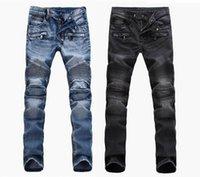 Мода мужская внешняя торговля светло-голубые черные джинсы брюки мотоциклетки мотоцикл мойки, чтобы сделать старую сгиб мужские брюки повседневные взлетно-посадочные дним