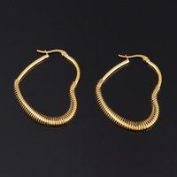 Hoop & Huggie Punk Stainless Steel Earrings Heart Earring For Women Butterfly Geometric Star Charm Jewelry Gift