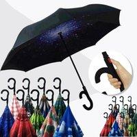 Guarda-chuvas de padrão de flor invertido ensolarado chuvoso de dobramento dos guarda-chuvas c lidar com a camada dupla camada de auto-estante para dentro de fora a prova de vento reversa EWF7686