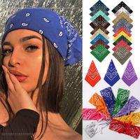 Vintage Bohemia Print Bandana Hair Bands for Girls Women Headband Scarf Face Mask Cross Turban Bandanas Headwear 55cmX55cm