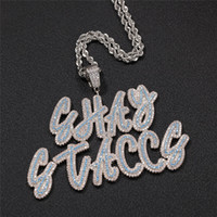 Hotsale Hip Hop Custom Name Letter Pendant Necklace With Free 24inch Rope Chain Gold Silver Bling Zirconia Men Pendant Jewelry