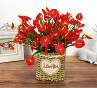 Plastic Flowers Artificials Red Anthurium One piece 7 branches 30 flower-heads Artificial Flower bouquet for christmas decor DD188