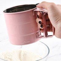 أداة الخبز Sifter شبه التلقائي شاكر اليد شاكر اليد الضغط نوع دقيق غربال اكسسوارات المطبخ الوردي
