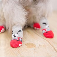 Dog Apparel 4pcs set Cartoon Lovely Socks For Small Medium Dogs Cotton Anti-Slip Cat Shoes Bottom Mini Warm Sock Accessories