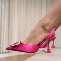 Marke Frauen Pumps Luxus Kristall Slingback High Heels Sommer Braut Schuhe Komfortables Dreieck HEELED Party Hochzeitskleid