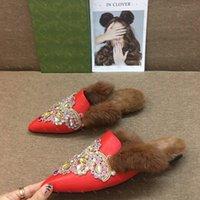 Designer slippers Autumn winter new season ladies flat Slipper luxury brand plush sparkling hot diamond fur loafers Paris fashion