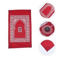 Tapetes 2pcs islâmico de oração muçulmana de cobra tapete tapete com bússola e saco de armazenamento