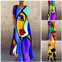 Summer 2021 Retro Portrait Cat Print V-neck Multi-Color Long Stretch Dress