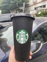 2021 Yeni Klasik Starbucks 24 oz / 710ml Plastik Kullanımlık Silindirik Kapaklı Plastik Kullanımlık Siyah Düz Fincan Örtü