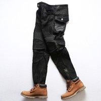 Rock puede rodar genuino cabra cuero motocicleta ciclista pantalones vintage elegante durable pantalones de gamuza hombres
