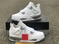 4 zapatos de baloncesto White Oreo Hombres Universidad Azul 4S Suede Tech Sneakers CT8527-400 Blanco / Tech Gray / Negro / Fuego rojo