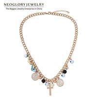 Néoglory Bijoux Crystal Perle Simulée Colliers à la chaîne pour femmes 2021 Brand Cadeau de mode Croix des Chokers religieux