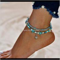 Anklets Jewelry Drop Consegna 2021 Aessories doppio strato di riso perlina Tortoise Ciondolo spiaggia Starfish Pearl Anklet Bsiyo