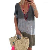 Kollu Gevşek Colorblock Moda Tshirt Elbise Famale Rahat Giyim Bayan V Boyun Çizgili Elbise Kısa