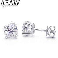 AEAW COUPE TOUCHE TOTAL 2.00CT 6.5MM Test de diamant Passée Moissanite Argent Boucle d'oreille Bijoux Bijoux Girlfriend cadeau