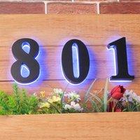 لون التجزئة الحديثة رسمت الأزرق عكس مضاءة ناعم الباب الأرقام علامات الاكريليك الظهر الصمام الأرقام المنزلية الدافئة البيت الخارجي
