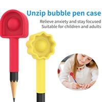 Arco-íris Pop Push Bubble Fidget Pen Case Brinquedos Educativos Decompression Dedo Pressão Bola UNZIP Bolha Pen Cap Tampa Capa Lápis Extensor G625X2Y