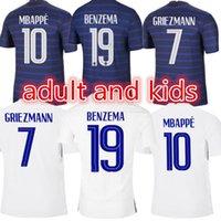 2022 성인 및 키즈 벤제마 축구 유니폼 Maillots de Football Maillot Equipe 20 21 MBappe Griezmann Kante Pogba Size S-XXL