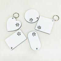 Puppy Keychain Party Favoris Sublimation MDF Porte-clés pour femmes Paw Imprimer Porte-clés en bois Creative Dog Tag