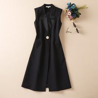2021 Fall Autumn Luxury Sleeveless Dress Black Solid Color V Neck Buttons Mid-Calf Dresses S180813-05