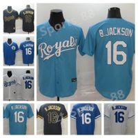 2021 Роялс Джерси № 16 Бо Джексон Дом Голубокие Белые Серые Мужчины Женщины Дети Молодежные Бейсбольные Майки