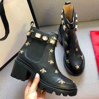 2021 أعلى النساء مصمم الأحذية مارتن الصحراء التمهيد فلامنغوس الحب السهم 100٪ جلد حقيقي ميدالية الخشنة عدم الانزلاق الشتاء أحذية حجم US5-11