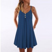 Casual Dresses Tank Tops Dress Women Elegent Solid Camisole Lady Bottoned Straps Sleeveless Breasted Pleated Knee-Length Party Wear