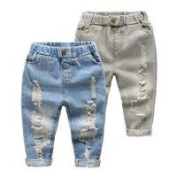 Children Hole Broken Jean Pants Kids Baby Classic Pant Children Denim Clothing Trend Long Bottoms Baby Boy Casual Trousers 210331