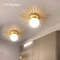Ceiling Lights Art Design Loft LED Gold White Glass Aisle Corridor Lighting Fixtures Dining Room Bedroom Lamp Sun Shape