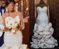 Plus Size South African Mermaid Wedding Gowns 2021 Luxury Pearls Beaded Lace Ruffles Skirt Bridal Dress Illusion Long Sleeve Elegant Vestidos De Novia Arabic AL9038