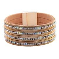 Bangle Bohemian Leather Bracelets For Women Ladies Boho Metal Crystal Wrap Multilayer Wide Charm Bracelet Female Rhinestone Jewelry