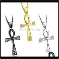 Fashion Hip Hop Design Stylish Cool Titanium Steel Vintage Ancient Egyptian Cross Religious Ala Diamond Men Women Necklace Wsiz Neckla 4Msvt