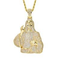 HIP HOP Golden Jésus Christ Pendentif Inlaid Zircon Glaid Out Bijoux religieux pour Collier Cadeau Christian Cencel